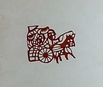 古代赶马车剪纸