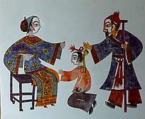 古代教育儿女剪纸