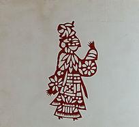 古代遛鸟剪纸