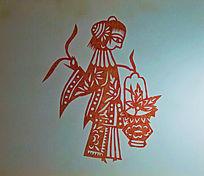 古代女提花篮剪纸