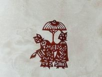 古代女子出行剪纸