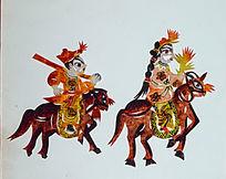古代骑马人像剪纸