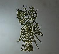 古代手持花瓶剪纸