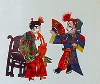 古代舞扇剪纸
