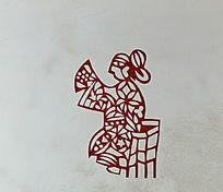 古代座立女剪纸