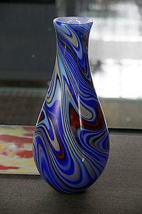 蓝彩琉璃瓶