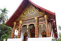 老挝寺庙金色花纹装饰