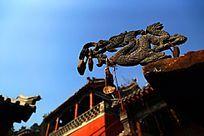 庙宇前的铸铁龙