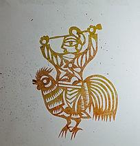 骑鸡人像剪纸