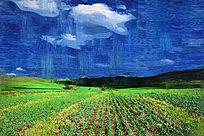 电脑油画《田园风光》