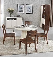 精巧圆餐桌及餐椅餐边柜隔断柜