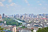 昆山城市全景远景图片素材