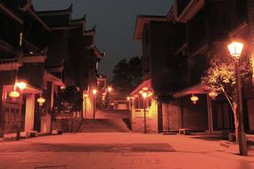 乾州古城打烊后街道夜景