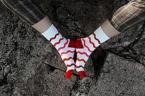 水波纹潮人袜子