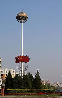 党旗青松球形高杆路灯