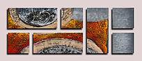漂亮的抽象油画无框组合画