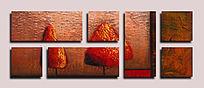 组合多联抽象油画无框画