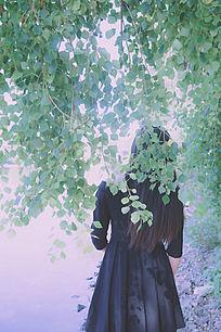 光影与少女的背影