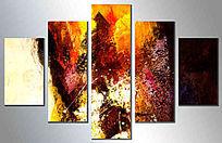 现代风格五联抽象油画