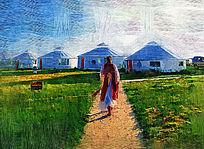 电脑油画《草原蒙古包》