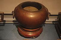 清代钵式双环锔香炉