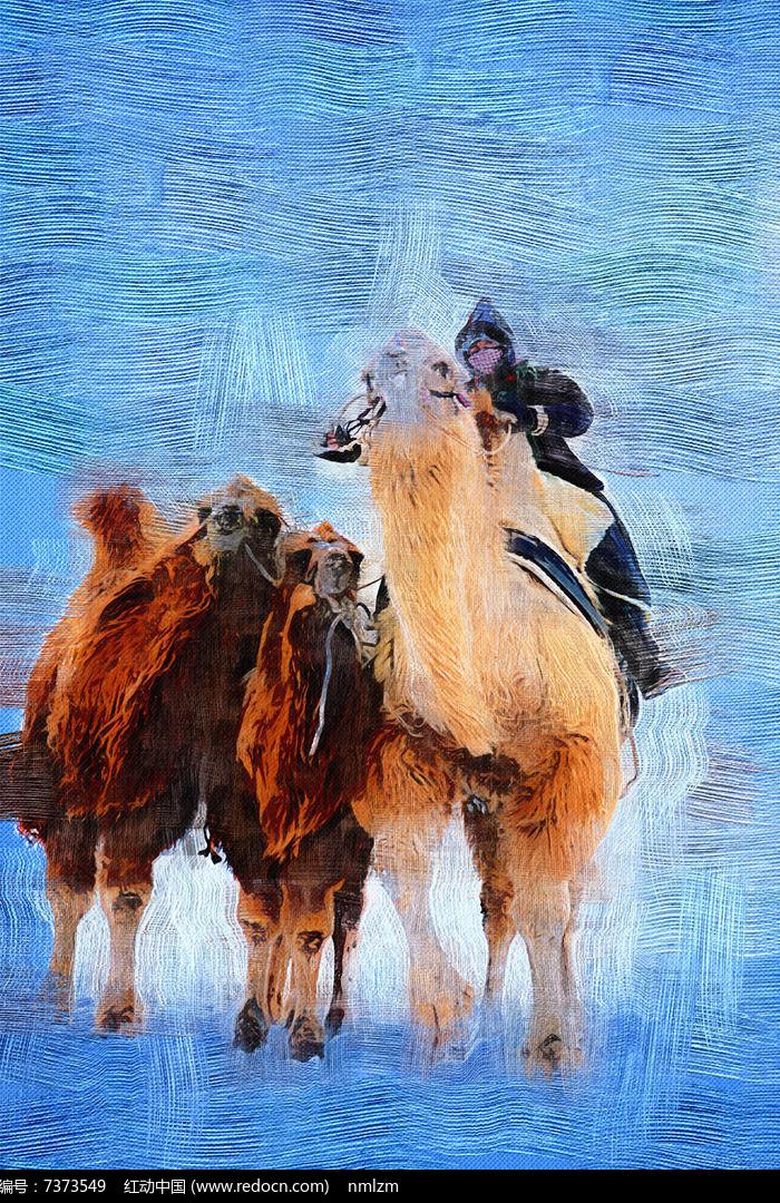 电脑油画 骑骆驼的蒙古人