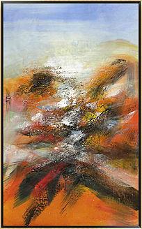 色块抽象油画简约现代风格