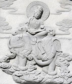浮雕壁画神象与佛