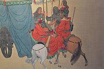 古代士兵交谈壁画