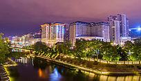 城市住宅夜景