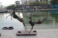奔腾的马铜雕
