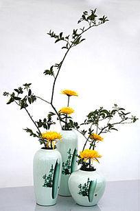 小叶绿色植物菊花花艺
