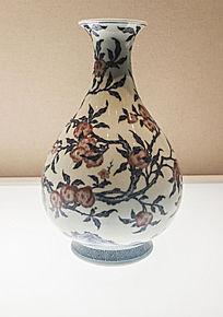 清代雍正时期青花釉里红桃纹玉壶春瓶