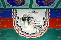 古建彩绘山水垂钓图