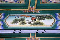 古建彩绘松树寿带