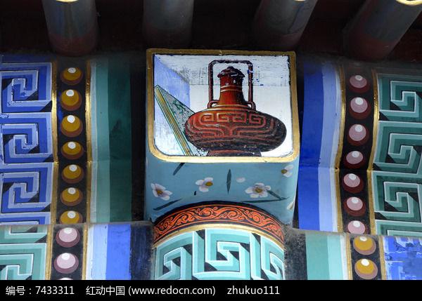 古建彩绘柱头装饰图片