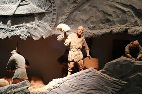 古人制瓷和泥雕像