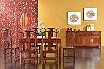 木面长餐台单背椅餐边柜