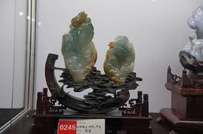 翡翠雕明月几时有雕件