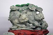 翡翠雕招财猫