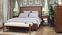 单抽床头柜床榻板式床