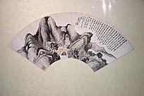 古代黑白水墨画群山配诗词扇面图