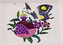 蝴蝶花卉图案剪纸