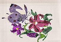 紫色蝴蝶图案剪纸