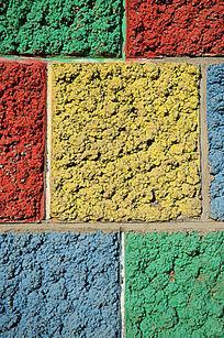 七彩石墙背景素材