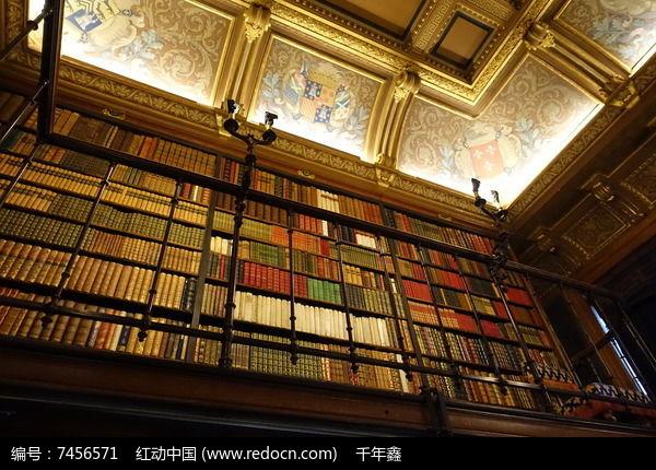尚蒂伊城堡书房高大书架图片
