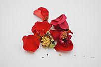 红玫瑰花瓣花蕊