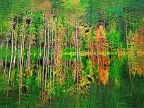 电脑油画《湖岸树林》