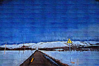 电脑油画《雪原之路》