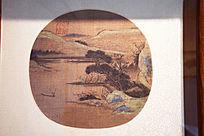 古代松树和山水水墨画圆形扇面图